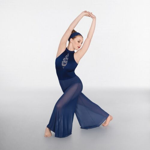 IN STOCK Blue Sequin Lace Insert Culottes Lyrical Jumpsuit Dance Costume
