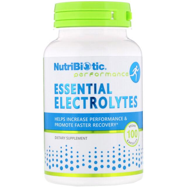 NutriBiotic Essential Electrolytes 100 Vegan Capsules Egg-Free, Gluten-Free,