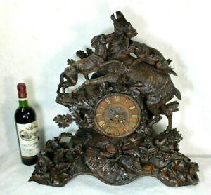 XL top  antique BLACK FOREST wood carved clock hunting scene dogs deer rare