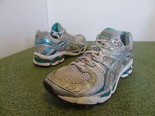 ASICS T150N Gel Kayano 17 women 8 White Silver Green Turquoise Teal Running Shoe