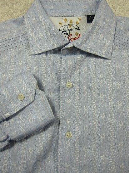 GORGEOUS Robert Graham Light bluee & White Flowers Shirt L 16.5x35