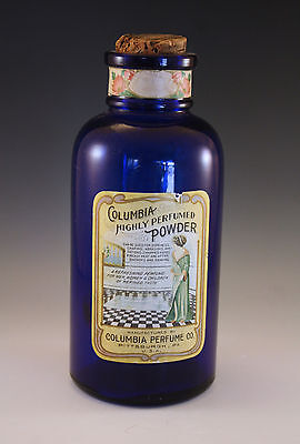 VINTAGE COLUMBIA PERFUME CO. LARGE COBALT GLASS APOTHECARY STYLE POWDER BOTTLE