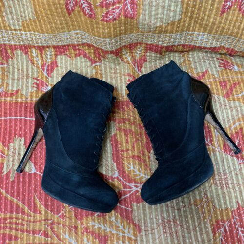 Joan & David Black Suede Stiletto Heel Ankle Boot
