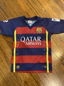 Lionel Messi 10 Fc Barcelona Au Qatar Airways Unicef Soccer Jersey Size 8 Youth Ebay