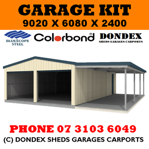 DONDEX SHEDS Double Garage Shed Kit 9x6x2.4 + 3.0m wide awning ...