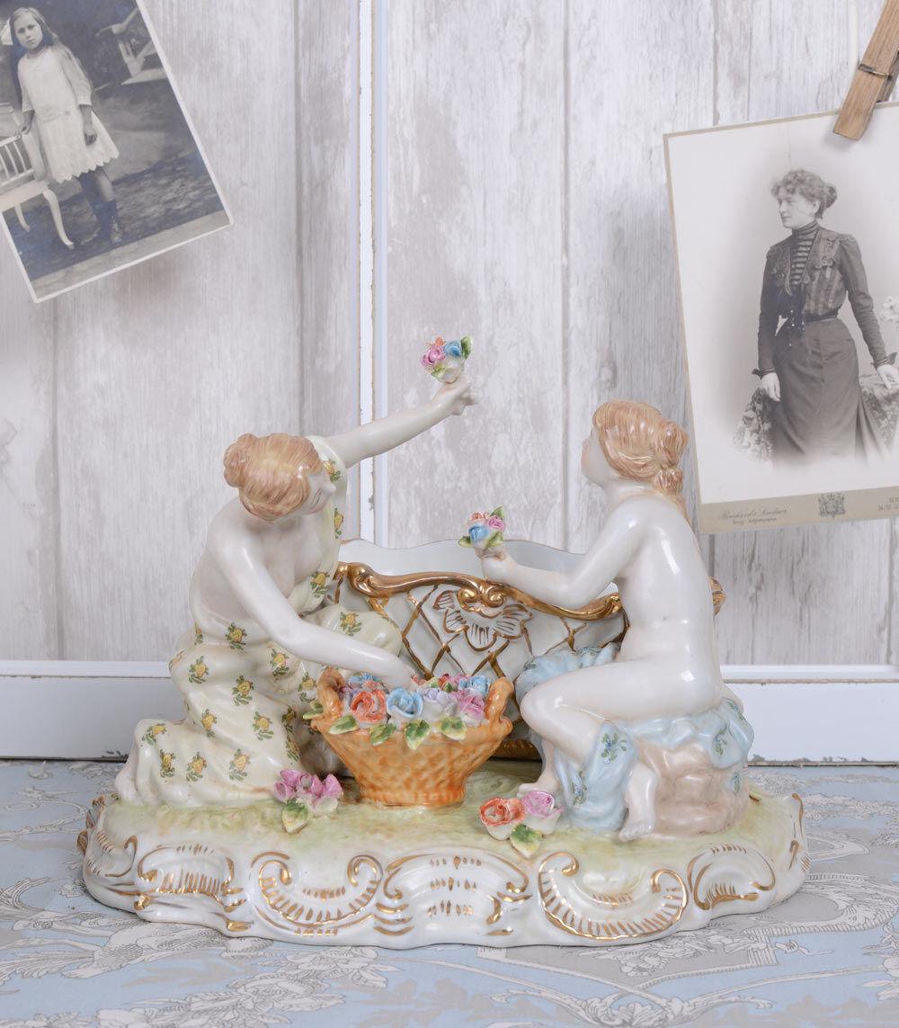 Decoraciones Antik porcelana cáscara mujeres figura jardiniere barroco porcelana figura