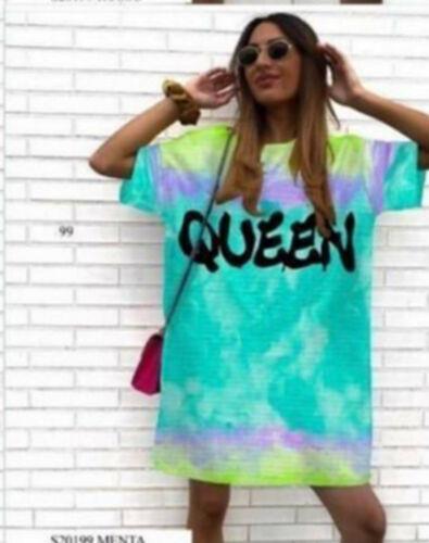 GREEN LADIES QUEEN TIE DYE  OVERSIZED T-SHIRT TOP DRESS