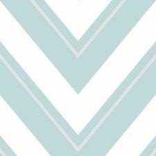 CHEVRON WALLPAPER - PALE TEAL & WHITE - RASCH 304114