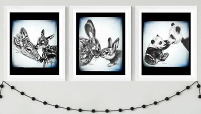 Mother and Baby Panda Bunny and Deer Prints animal nursery prints baby shower