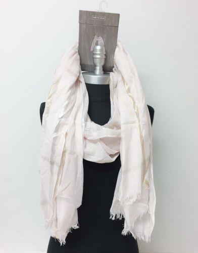 Oblong Chiffon plaid Scarf Wrap Shawl shiny line w// frayed edge Light Pink Soft