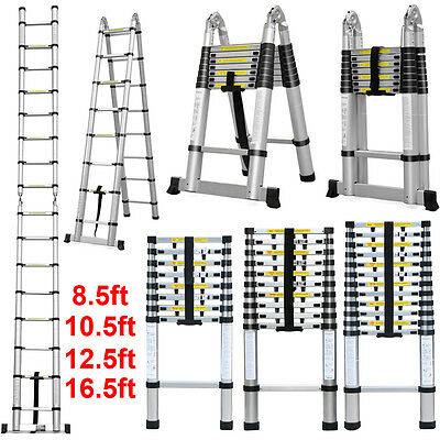 Pro 8.5'/10.5'/12.5'/16.5' Tall Aluminum Telescopic Ladder Multi Purpose NEW