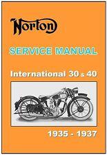 NORTON Workshop Manual Inter International 30 & 40 1935 1936 1937 Owners Service