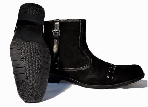 Affliction Suede Buckle with Studs Boots 9.5 Black