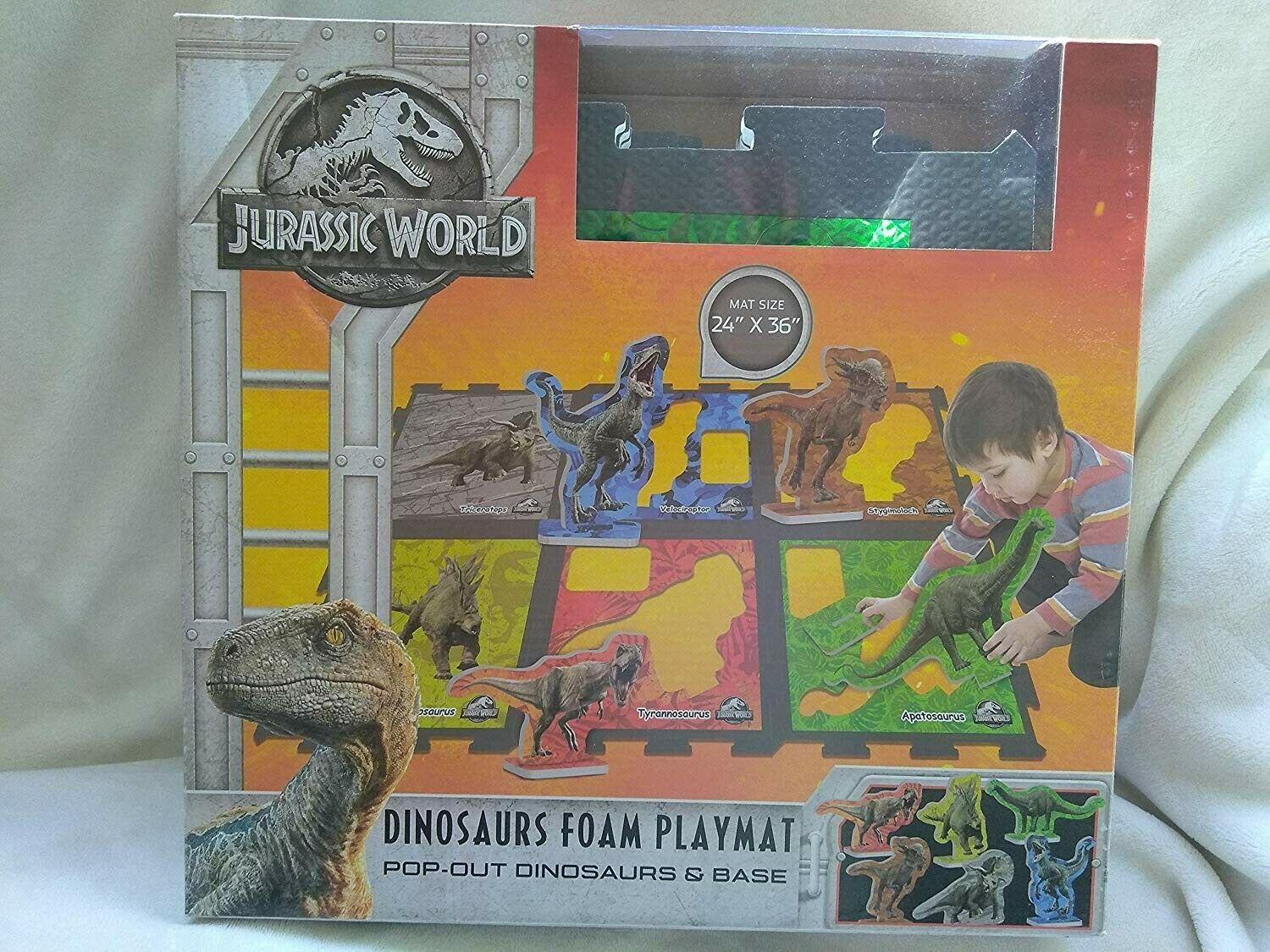 Jurassic World Dinosaurs Foam Playmat with 6 Pop-Out Dinosaurs & & & Base 1cd19d