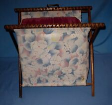 "Folding 16"" Wood Frame Sewing Basket Knitting Yarn Craft Caddy Tote Flowers!"