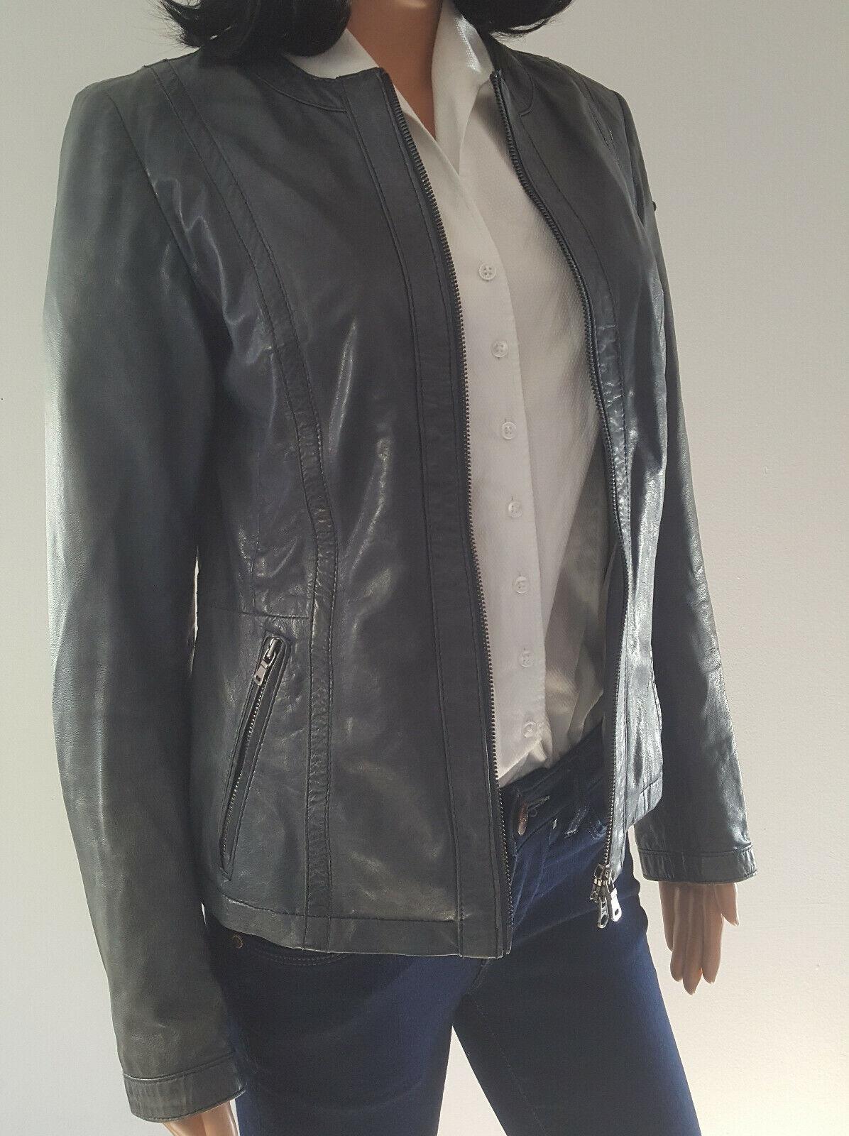 Lederjacke Damen Lloyd blau - grau Größe 38