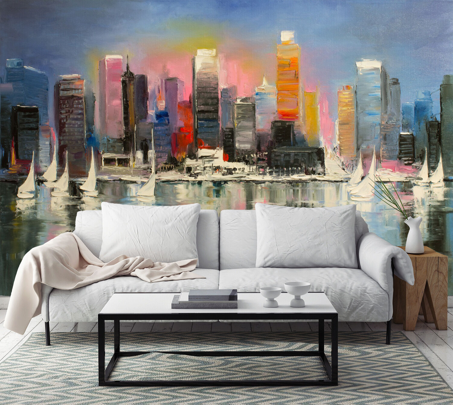 3D City River Painting 973 Wallpaper Mural Paper Wall Print Wallpaper Murals UK