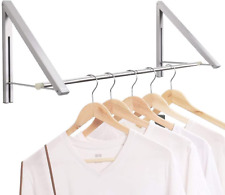 Clothes Hanger Folding Coat Rack Laundry Room Drying Wall Mounted Storage Silver