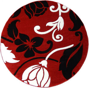 Details About Floral Round Carpet Woven 6x6 Area Rug Red White Black Actual Size 5 5 X 5 5