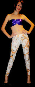 WOMENS-UNIQUE-AGED-OLD-TREASURE-WORLD-MAP-PRINT-LEGGINGS-GOTH-PUNK-EMO-SIZE-8-22