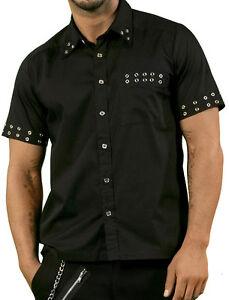 Dead-Threads-Mens-Black-amp-Chrome-Eyelet-Short-Sleeve-Shirt-L-amp-XL-Punk-Goth-NEW