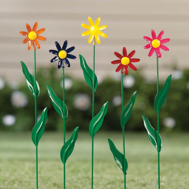 Daisy Garden Stake Set of 5 Metal Flower Yard Art Outdoor Planter Lawn Decor NEW