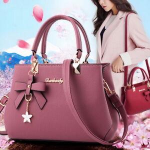 Fashion-Womens-Ladies-Designer-Leather-Handbag-Tote-Shoulder-Zip-Bag-Bowknot-UK