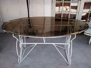 Grande table de jardin plateau en verre | eBay