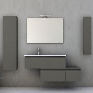 Mobile bagno con cassettiera moderno grigio talpa opaco 100 cm ...