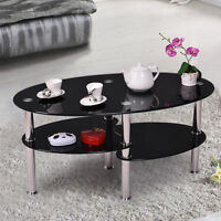 Modern Tempered Black Glass Oval Side Coffee Table Chrome Finished Legs
