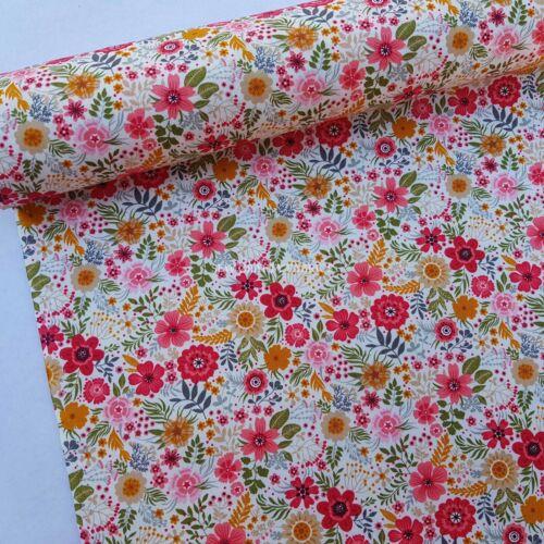 100/% Coton Popeline Tissu Rose /& Hubble Mignon Fleurs Jardin Floral Fleurs Robe