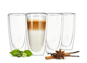 4-Doppelwandige-Latte-Macchiato-Glaeser-300ml-mit-4-Edelstahl-Loeffel-Kaffeeglaeser