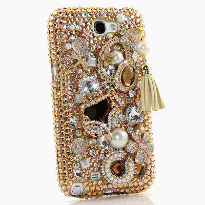 For Samsung Galaxy Note 2 Crystal Bling Diamond Grey Gold Pearl Purse Case Cover