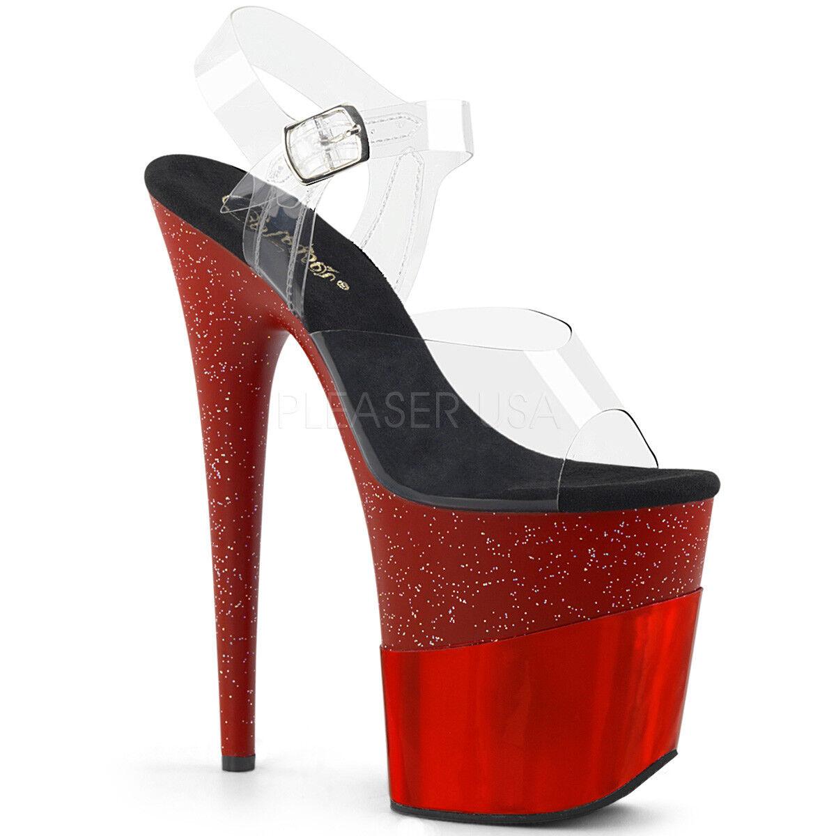 Pleaser FLAMINGO-808-2HGM Womens Clear Red Glitter Hologram Heel Platform Sandal