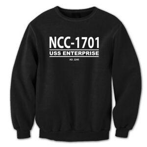 Ncc-1701 Star Trek Retro Ship Enterprise Uniform Black Crewneck ... 0f7cf00ac3c