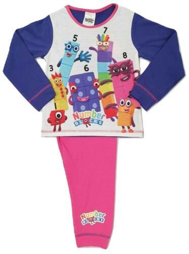 Girls Number Blocks PJs Nightwear Sizes 18 Months 5 Years