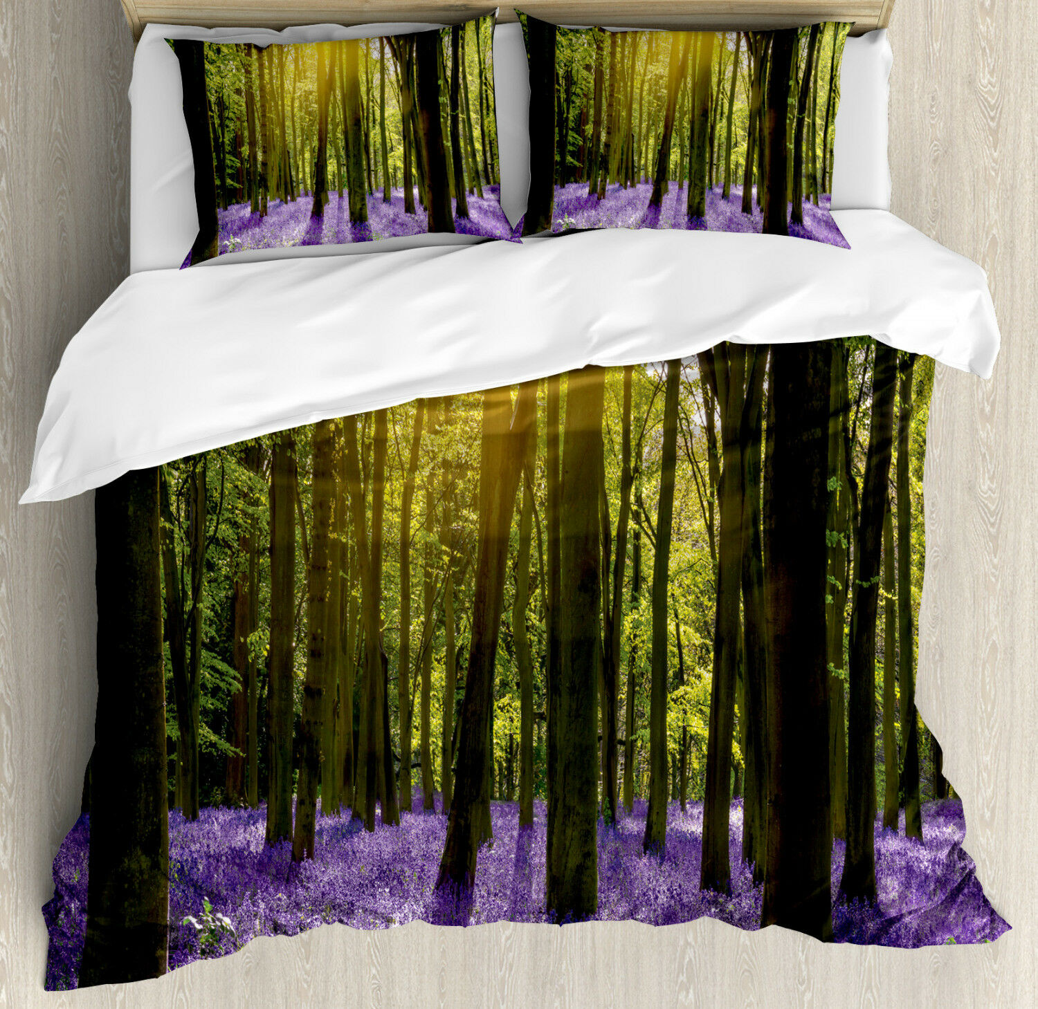 Woodland Duvet Cover Set with Pillow Shams blubell Blossoms Print
