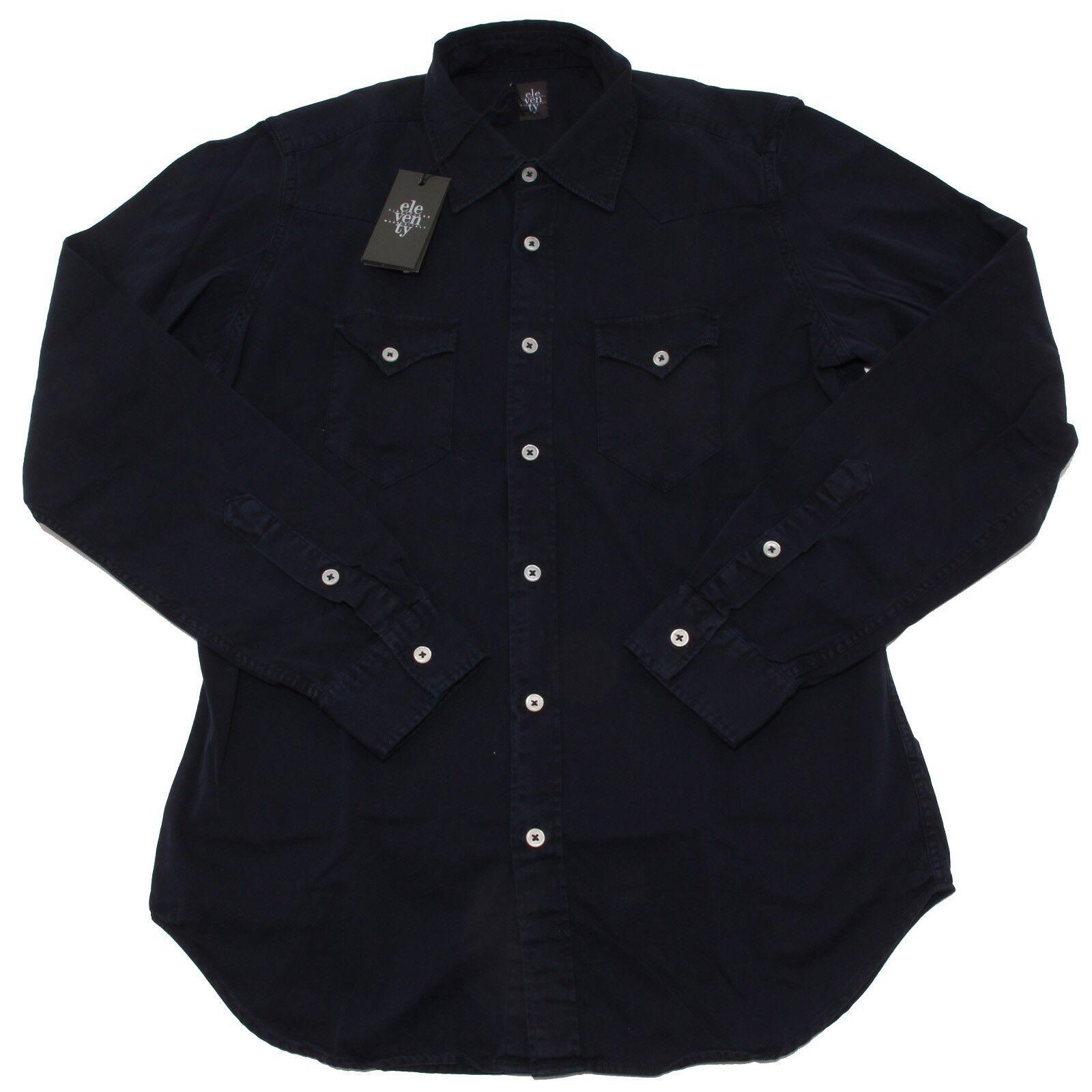 8351P camicia blu manica lunga ELEVENTY  camicia uomo shirt men