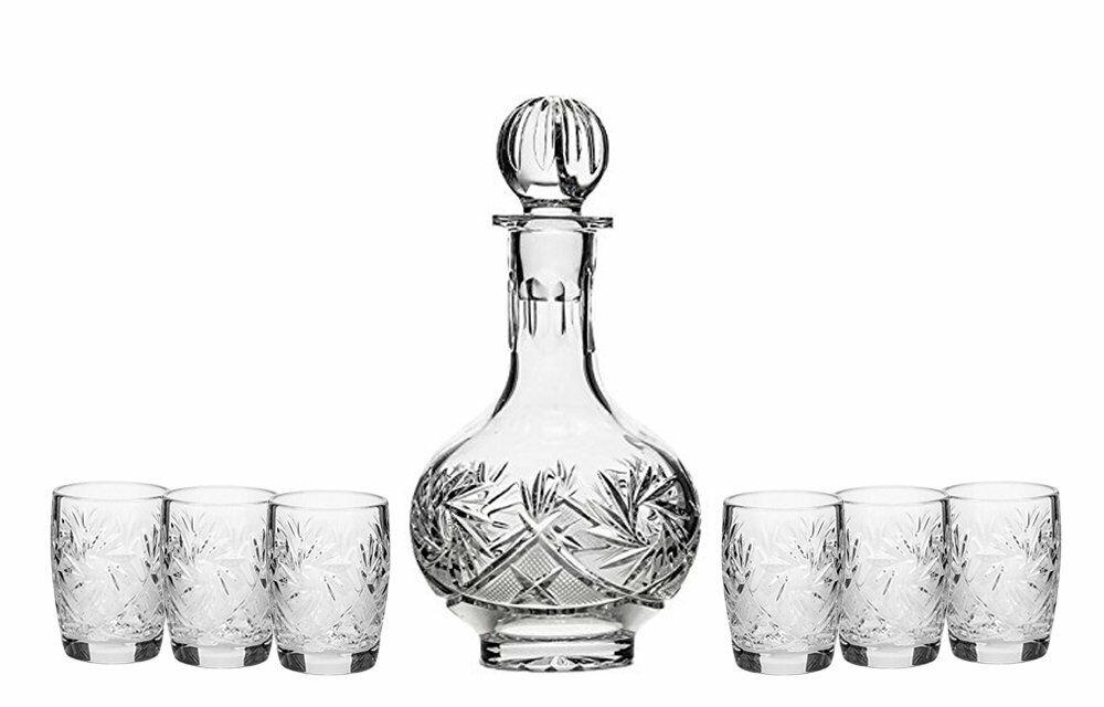 Russe CRISTAL TAILLE 12 oz (environ 340.19 g) Carafe décanteur & 6 Cristal verres à liqueur 1.7 oz (environ 48.19 g)