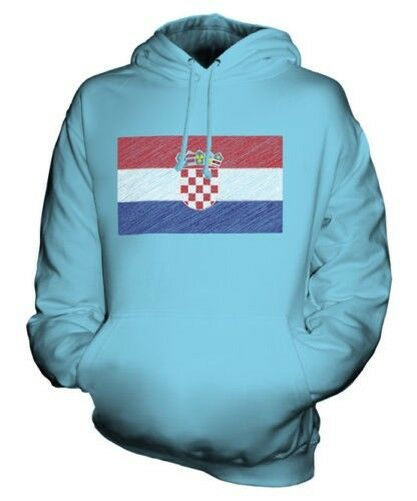Croatie Griffonnage Drapeau Sweat à Capuche Unisexe Haut Cadeau Hrvatska Croate