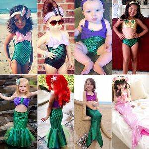 princess girls little mermaid bikini suit swimming costume swimsuit