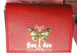 AUTHENTIC-GUCCI-Garden-Gold-Red-Moth-WALLET-Florence-Italy-Gift-Bag-Box-559