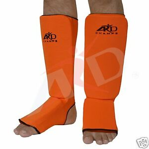 ARD Shin Instep Protectors, Guards Pads Boxing, MMA, Muay Thai Orange S,M, L, XL