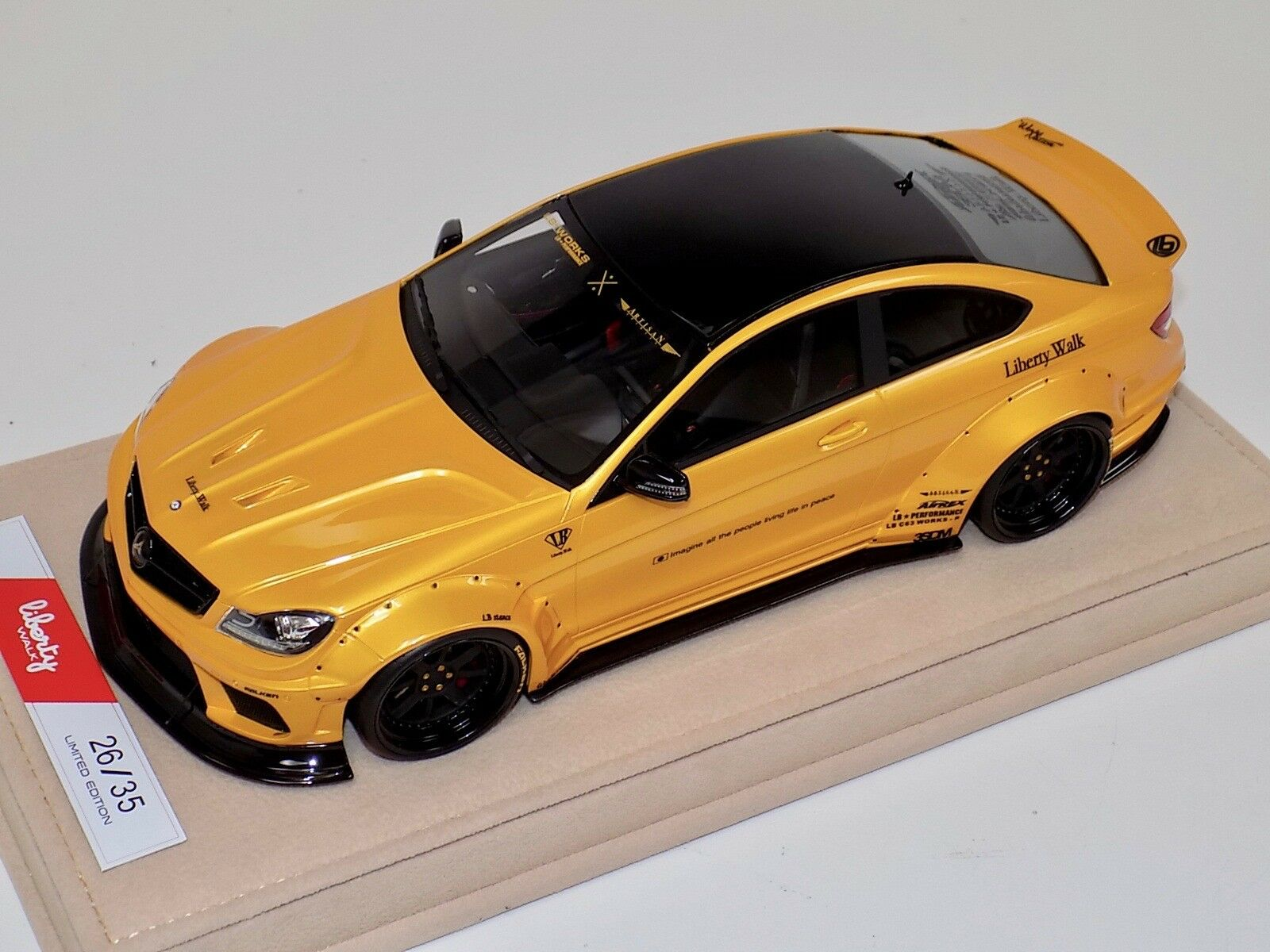 1 18 Mercedes Benz CLK C63 AMG Liberty Walk LB Performance Yellow Alcantara