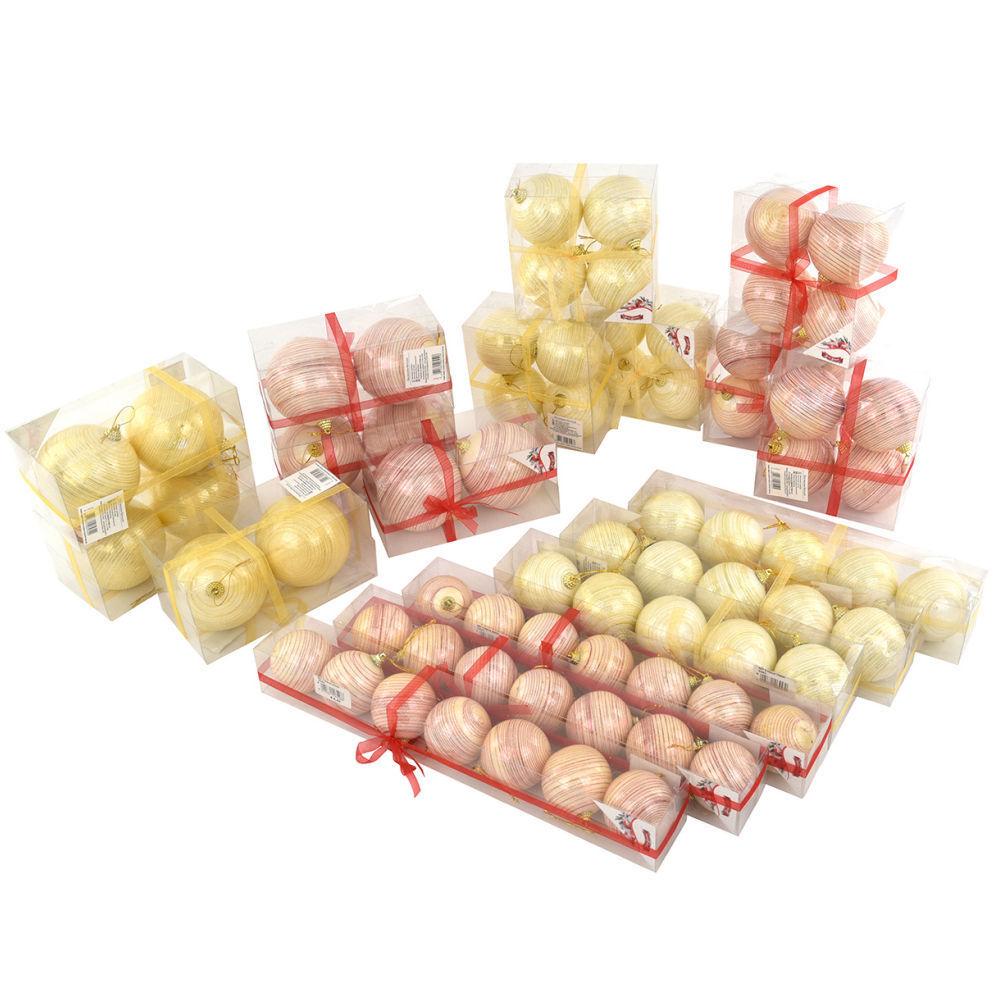 Set da 72 PALLE DI NATALE sfere natalizie abete con inserti laminati e glitter