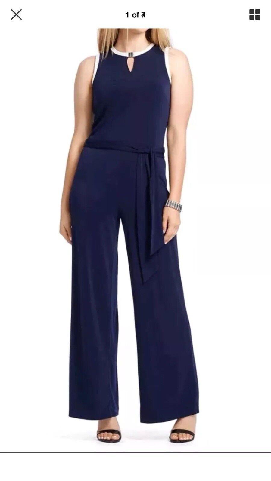 Lauren Ralph Lauren Womens Navy Wht Cpr Cold Shoulder Jumpsuit Plus 2X HO15 FH 3