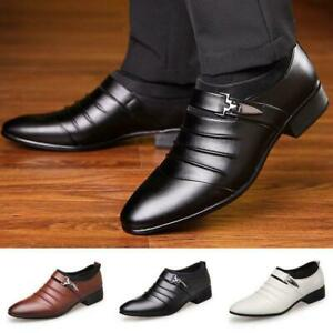 Men-039-s-Oxfords-Leather-Shoes-Casual-Pointed-Toe-Wedding-Formal-Office-Work-Shoes
