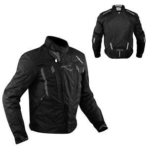 Giacca-Cordura-Moto-Tessuto-Impermeabile-Sport-Termica-Sfoderabile-Nero