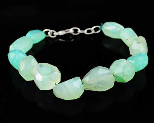 Genuine 214.50 Cts Natural Faceted Green Chalcedony Untreated Beads Bracelet