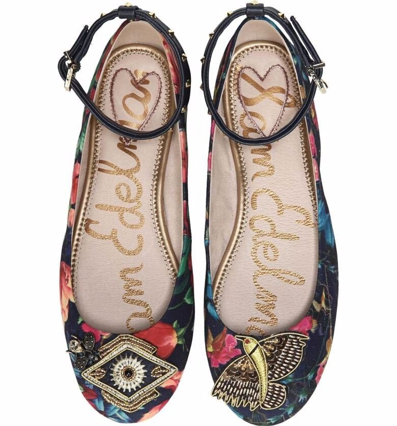 Sam Edelman Ferrera Embellished Ankle Strap Flat shoes size US 8